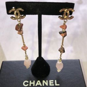 CHANEL Clip On Earrings. Color Pink Coral Stones